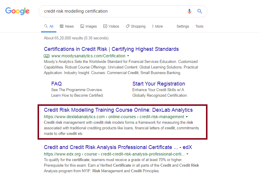 credit risk modelling certification